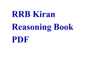 RRB Kiran Publication Reasoning Book PDF | RRB Book PDF