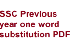 SSC Previous year one word substitution pdf